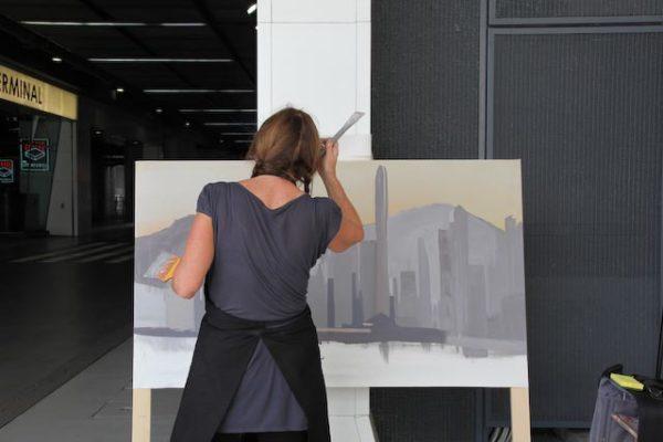 Michelle Auboiron - Peinture à Ocean Terminal - Kowloon