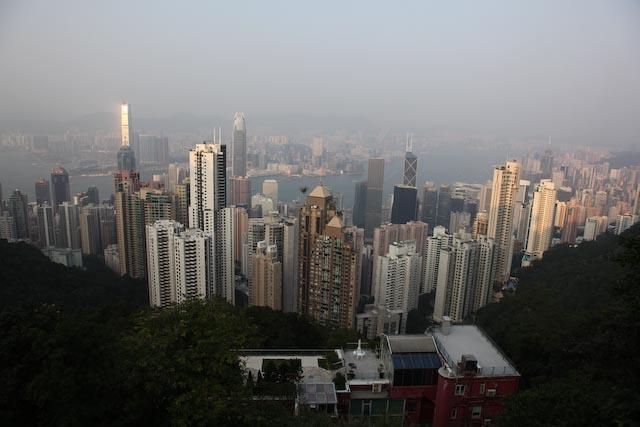 Coucher de soleil au Peak à Hong Kong