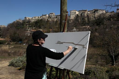 Peinture live à Méherbes - Lubéron - Par Michelle Auboiron.