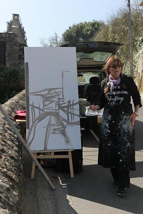 Michelle AUBOIRON peint en direct au Prieuré à Dinard