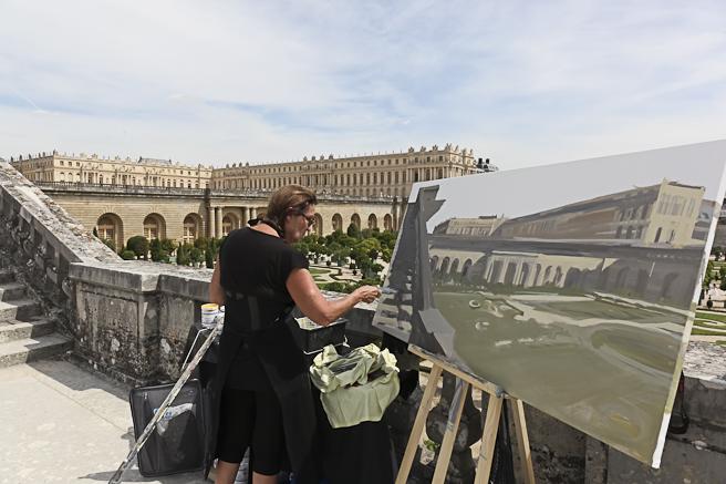 Michelle AUBOIRON - Peinture en direct de l'escalier des 100 marches du château de Versailles